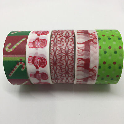 Washi Tape Set Christmas 5 Rolls X 15Mm X 5Mtr Planner Craft Scrap Wrap Mail Art