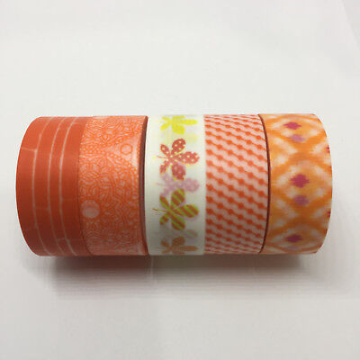 Washi Tape Set Orange 5 Rolls X 15Mm X 5Mtr Planner Craft Scrap Wrap Mail Art