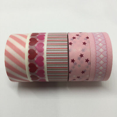 Washi Tape Set Pink/magenta 5 Rolls X 15Mm X 5Mtr Plan Craft Scrap Wrap Mail Art