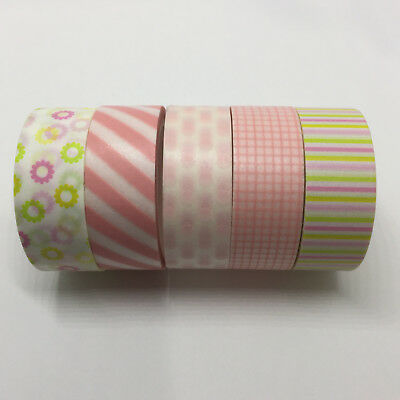 Washi Tape Set Pink/lime 5 Rolls X 15Mm X 5Mtr Planner Craft Scrap Wrap Mail Art
