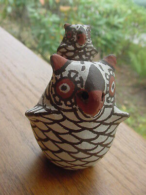 Vintage Zuni Pueblo Indian Pottery Owl Figure With Baby Owl Papoose