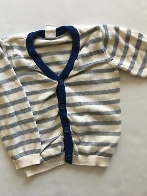 H&M Baby Boys Cardigan Sweater Size 12-18 Months Ivory Grey Striped
