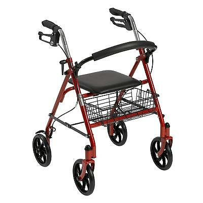Drive Medical Folding Walker Rollator 4 Wheels With Padded Seat / Basket New