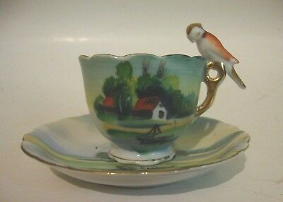Vintage Hand Painted Small Cup & Saucer Made in Japan Bird Handle