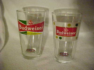 Retro Pint BUDWEISER  Beer Glasses (2) - 1955 and 1957  King of Beers Logo