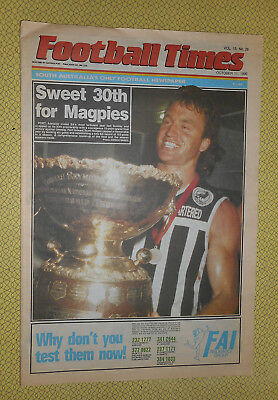 PORT ADELAIDE PREMIERS FOOTBALL TIMES OCTOBER 11th 1990 SWEET 30th FOR MAGPIES