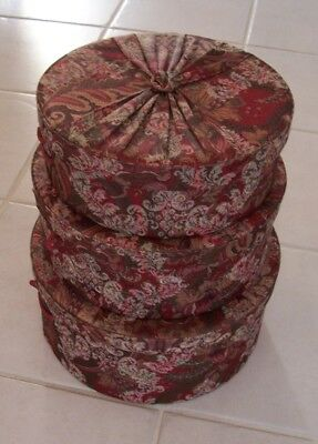 Vtg Set Of 3 Fabric Nesting & Stackable Hat Boxes Wine Paisley Floral Fabric