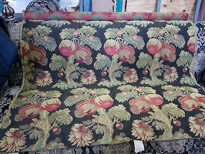Old World Weavers French  Large Floral Black Cotton Upholstery Fabric 3.5Yds