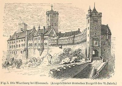 European Castles Fortified Structure Middle Age Antique Engraving Print ca 1885