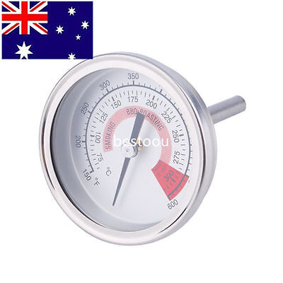 Stainless Steel Barbecue BBQ Pit Smoker Grill Thermometer Gauge 300 HU