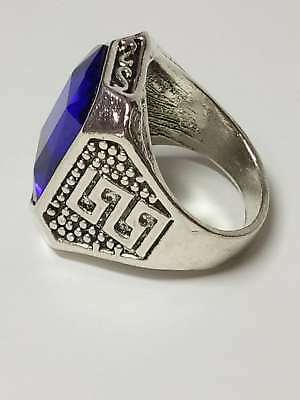 Chinese Handwork Exquisite Tibet Silver Inlaid Sapphire Fashion Ring a3020