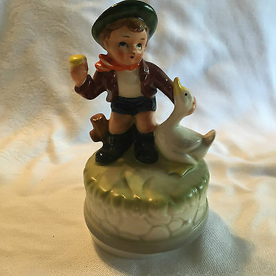 Vintage Little Boy with Duck Musical Japanese Style Hummel