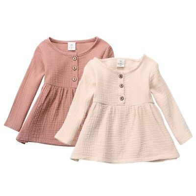Baby Girls Mini Dress Toddler Kids Soft Cotton Linen Blouses Long Sleeve Tops AU