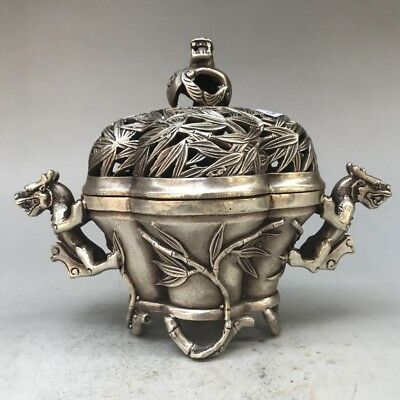 Collect China Carving Animal Tibet Silver Copper  Incense Burner Daming Mark