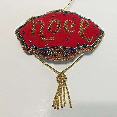 Vintage Velvet Christmas Ornament with Beaded Tassle Noel Victorian Style Red