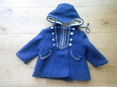 Rothschild Toddler Girls Navy Wool Winter Dress Coat Size 2t hood lined vintage