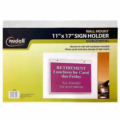 "Nudell 11"" x 17"" Horizontal Wall Mount Sign Holder, Clear"