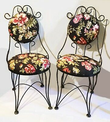 Ice cream parlor chairs. French farmhouse. Provincial. Set of two.