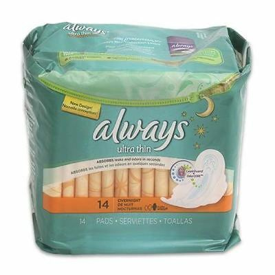 Always Ultra Thin Overnight Maxi Pads with Flexi-Wings - 14 Pads