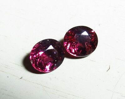 2pc 6x5mm NATURAL PINK RHODOLITE OVAL CUT faceted LOOSE GEMS from natural rough
