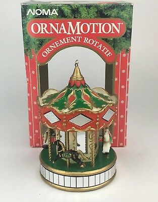 Noma Ornamotion Merry Go Round Rotating Ornament Carousel With Mirrors 1989