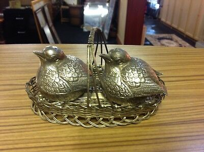 Silver Plate Blue Bird Chick Garden Robin Salt & Pepper Cruet Condiment Set Rare