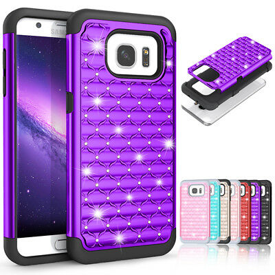Glitter Bling Diamond Hybrid Phone Case Cover For Samsung Galaxy S6 S7 S9 Note 8