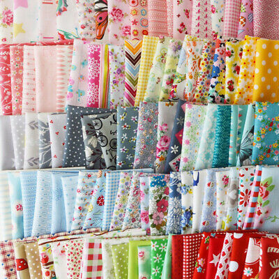 10Pcs Mixed Cotton Fabric Material Joblot Value Bundle Scraps Offcuts Quilting
