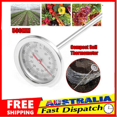 Compost Soil Thermometer Premium Stainless Steel Bimetal Probe 0℃~120℃ Sale Dw