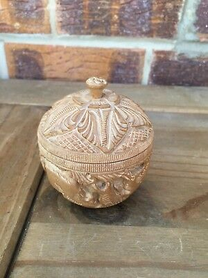 Chinese Carved Wooden Bowl With Screw Top Lid