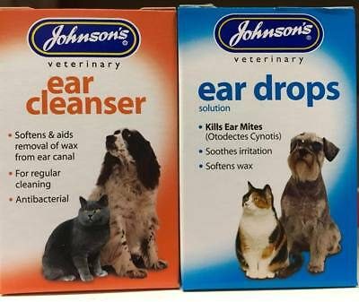 Johnsons Ear Drops / Cleanser , Dogs & Cats / Kills Ear Mites  SAMEDAY DISPATCH