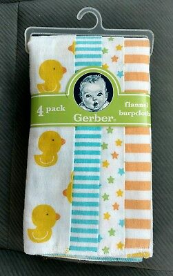 GERBER 4 BURPCLOTHS FLANNEL Ducks Chicks Baby Infant Boys Girls Pack NEW NIP NWT