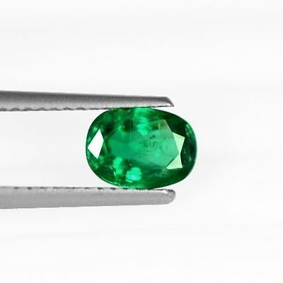 0.92 Cts Natural Top Green Emerald Loose Gem Oval Cut Zambia Untreated 7x5 mm $