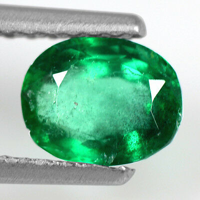 0.62 Cts Natural Lustrous Rich Green Emerald Oval Cut Zambia 6x5mm Loose Gem
