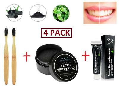 4 PACK Activated Charcoal Teeth Whitening Carbon Coco Powder Kit Toothpaste Brus