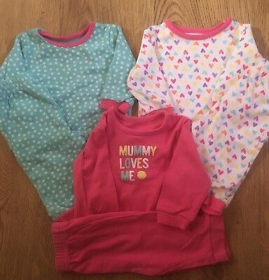 George 3 Pack Baby Girls Pyjamas. Hearts, Spots, Mummy Loves Me Pjs. 3/6 Months