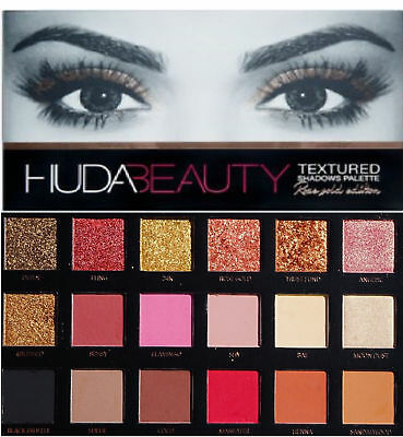 Genuine 2018 HUDA Beauty Textured Eye 18 Shadow MakeUp Palette ROSE GOLD EDITION