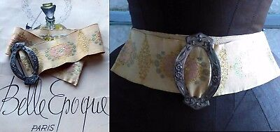 c1880 ART NOUVEAU FRENCH FANCY FAILLE FLORAL EMBROIDERED BELT W ENGRAVED BUCKLE