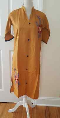New Pakistani Indian Apricot Linen Embroidery  Women kurti