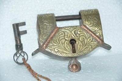 Old Iron Solid Engraved Handcrafted Brass Fitted Unique Padlock , Rich Patina