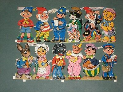 Vintage 1961 Sheet of Noddy & 11 Other Characters