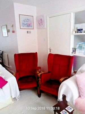 2 wing back chairs vintage