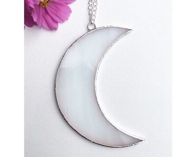 Stained Glass Moon Suncatcher, White Glass, Made By Alice