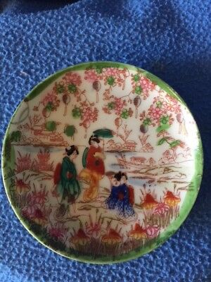 "Hand Made & Painted Asian Trinket Dish ANTIQUE 4.25"" diameter green Geishas"