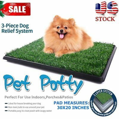 "Indoor Large 30"" Pet Toilet Dog Grass Restroom Puppy Potty Training Loo Pad HE"