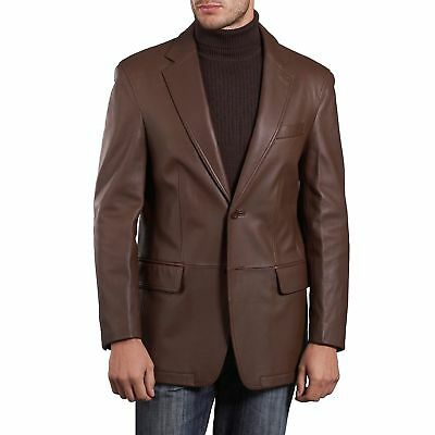 Brand New Men's Genuine Lambskin Leather Blazer Jacket Soft TWO BUTTON Coat