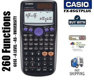 Casio FX-85GT Plus Full Scientific Calculator 260 Functions GCSE A-Levels BLACK