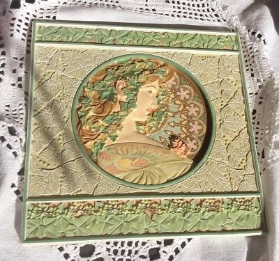 Lovely Art Nouveau Style'Past Times'Alphonse Mucha Ivy Leaves Wall Hanging