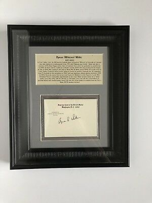 """BYRON """"WHIZZER"""" WHITE Supreme Court Justice Framed Autograph Card NFL"""
