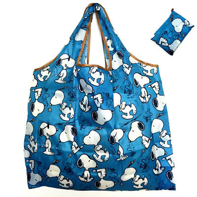Snoopy Foldable Shopping Nylon Bag ~ Blue